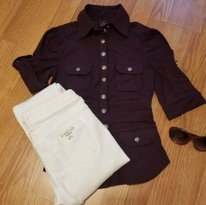 2b bebe purple button up top